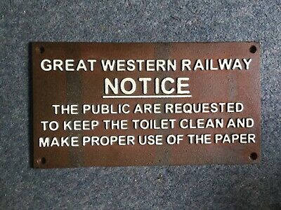 Cast Iron Railway Toilet Sign Great Western, Train Notice, Vintage Style.
