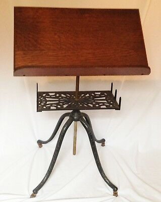 "Antique Ornate Cast Iron & Wood Music Stand on Wheels Adjustable Height 30""-41½"""