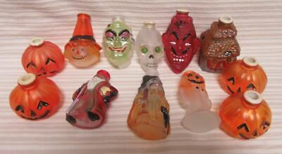 Vintage Old World Christmas Halloween Light Bulb Covers Ghost Witch Devil Set 12