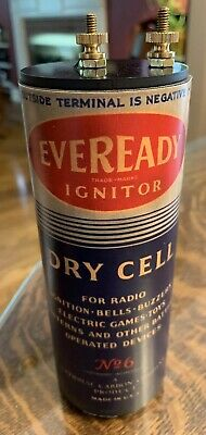 Antique Refillable #6 Eveready Igniter Dry Cell Battery Telephone Radio Lantern