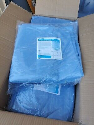 100 BLUE convertors impervious Isolation Gowns w/ knit cuffs XXL Latex free