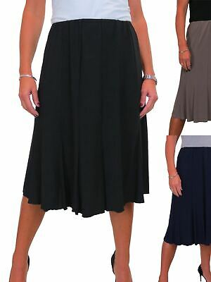 Womens Plus Size Stretch Chino Sheen Jeans Style Skirt Black NEW 12-24