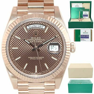 Papers Rolex Day Date 40 18k Rose Gold President Brown Motif 228235 Watch
