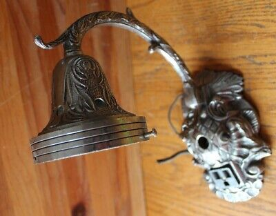 Pewter Hall Sconce Vintage wall light lamp Ornate outlet receptacle Antique