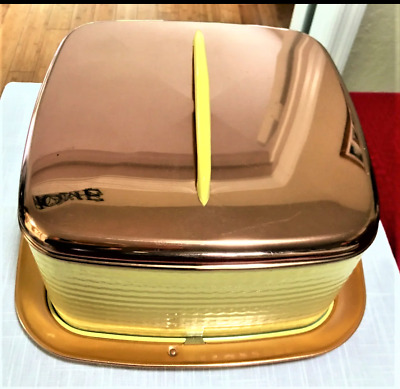 Vintage Collectible Mid-Century Modern Metal Cake Carrier Yellow and Copper