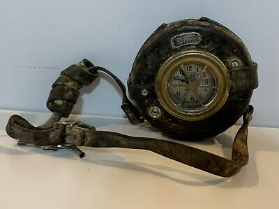 Antique Detex Newman Guardsman Clock with Leather Strap and Case Keys Included