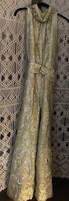 Vintage 1960's Gold Lame Metallic & Beaded Brocade Palazzo Jumpsuit - Small