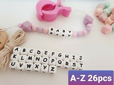 26Pcs Silicone Beads dummy chain letters personalized DIY accessories 12mm