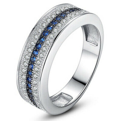 Women's 925 Silver Plated Rings Wedding Finger Rings White Sapphire Ring Jewelry