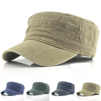 Classic Plain Retro Army Military Cadet Style Cotton Hat Baseball Cap Adjustable