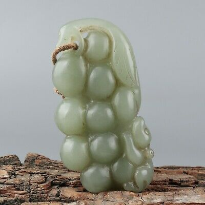 Chinese Exquisite Hand-carved grape squirrel Carving Hetian jade Pendant