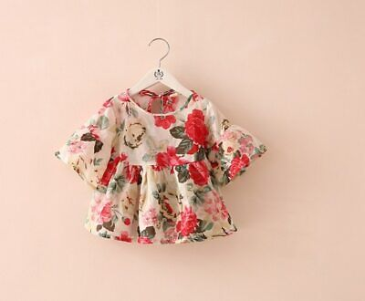 Girls Blouses Floral Flare Sleeve Ruffles Shirt Tops Baby Infant Dresses Party