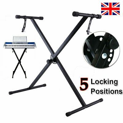 Double-Braced X Frame Folding Adjustable Keyboard Piano Stand w Locking Strap E