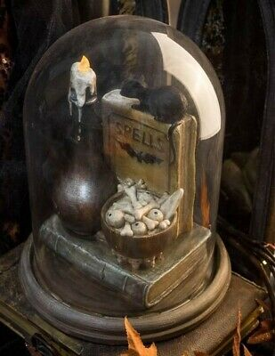 Victorian Trading NEW Halloween Rats on Book Light Up Cloche 14A