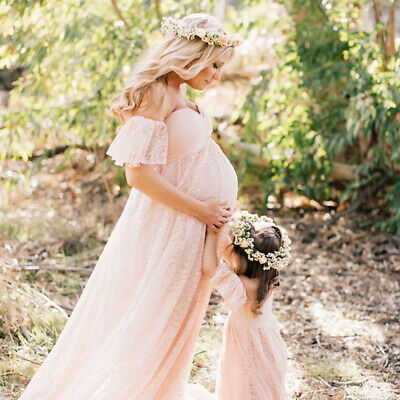 Maternity Dress Ruffle Sleeve Pregnancy Long Maxi Women Solid Photography Props