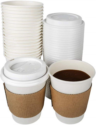 TashiBox 12 oz Disposable Coffee Cups With Lids and Sleeves, Paper Hot Cup - 108