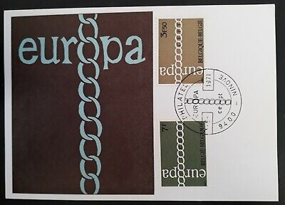 1971 Belgium Europa FDC Postcard ties set of 2 stamps canc Ninove