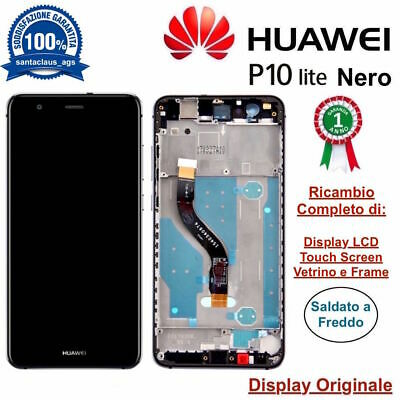 Display LCD e Touch Screen Middle Frame Originale HUAWEI P10 Lite WAS-LX1A Nero