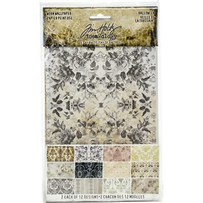 "Tim Holtz Idea-ology 'WORN WALLPAPER HALLOWEEN' 5x8"" Paper Pad 24 Sheets"