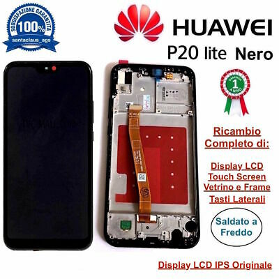 Display LCD e Touch Screen Middle Frame Originale HUAWEI P20 Lite ANE-LX1 Nero