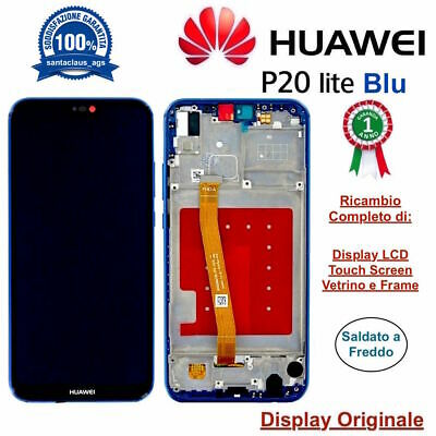 Display LCD e Touch Screen Middle Frame Originale HUAWEI P20 Lite ANE-LX1 Blu