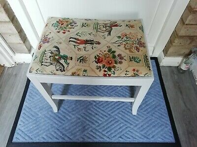 Antique Vintage Grey Painted Piano Stool Dressing Table Stool Foot Stool