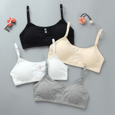 Young Girls Cotton Bra Puberty Breathable Underwear Crop Sports Bras 8-16Years