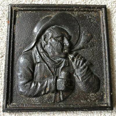 Antique Victorian Cast Iron Pipe Smoking Man Figure Wall Plaque Tobacco Shop
