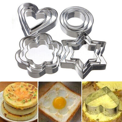 12pcs Reusable Pastry Stencils Nonstick Heart Stainless Steel Star Baking Mould