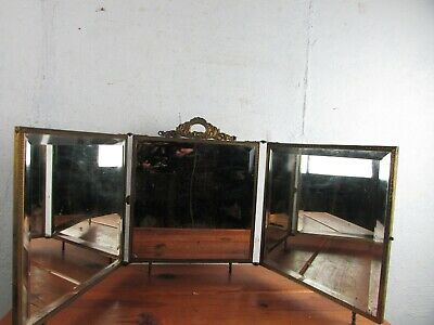 Mirror Antique Victorian  Dresser-top/Hanging Tri-fold Vanity Beveled Dated 1898