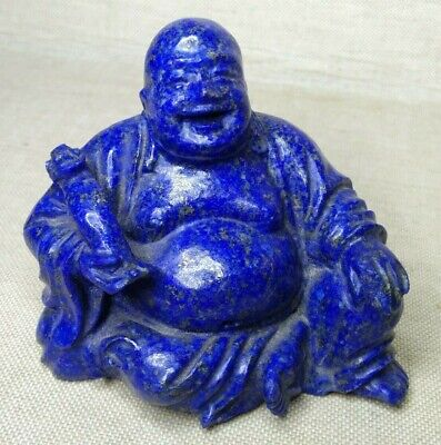 Vintage Chinese Happy Buddha, made from lapis. 20th century.
