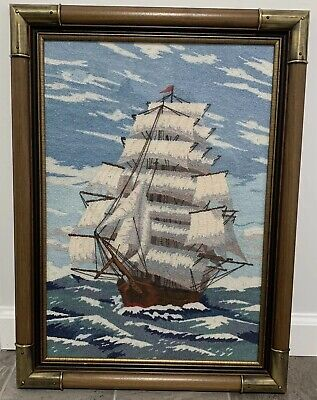 """Needlepoint Embroidery Ship Nautical Picture Wood Frame Brass Corners 23"""" x 17"""""""
