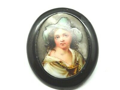 Antique Victorian Hand Painted Porcelain & Whitby Jet Mourning Brooch Pin. F197F