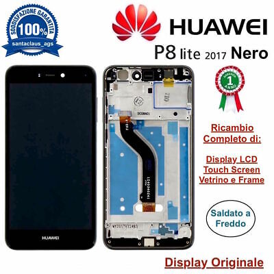 Display LCD Touch Screen Middle Frame HUAWEI Originale P8 LITE 2017 PRA-LX3 Nero