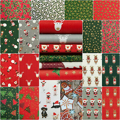 100% Cotton Christmas Prints Fabric (by the metre or half) - 30+ Fun Designs