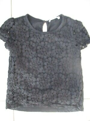 Bnwot Marks & Spencer Girl Short Sleeve Lace Black Top Blouse Age 8 - 9, 8, 9