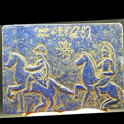 Old Rare Lapis lazuli Stone Tablet With Wonderful With Sign & letters    # 25
