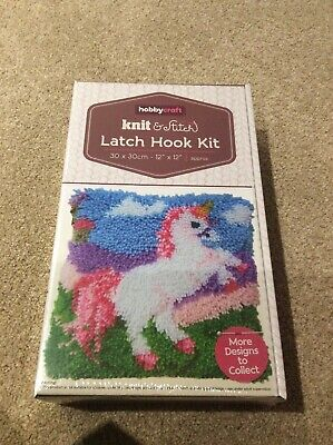 "Hobbycraft Latch Hook Rug/Pillow Kit   ""A UNICORN"" Latch Hook Tool Included"
