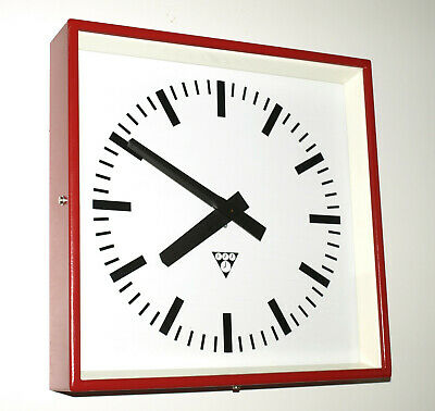 metal square wall clock PRAGOTRON - red - Factory clock - vintage loft antique