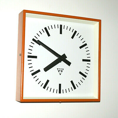 metal square wall clock PRAGOTRON - orange Factory clock - vintage loft antique