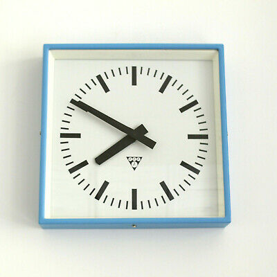 metal square wall clock PRAGOTRON - blue - Factory clock - vintage loft antique
