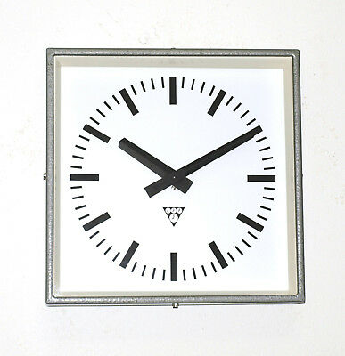 metal square wall clock PRAGOTRON - industrial design vintage loft ORIGINAL BOX