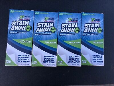 (4-Pack) Stain Away Plus Denture Cleanser 8.1 oz each FREE USA PRIORITY SHIPPING