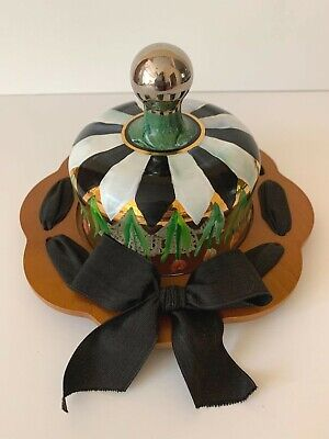 Vintage Mackenzie Childs Circus Glass  Cheese Dome with Wood Base & Ribbon