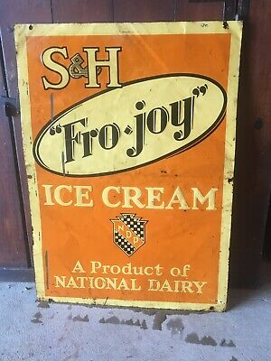 Vintage FRO•JOY ICE CREAM Advertising Sign National Dairy Tin Farm Barn MAINE