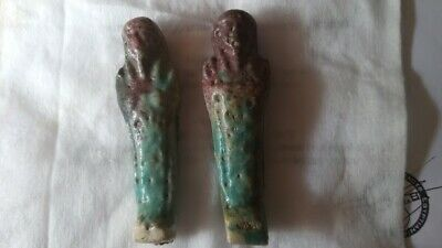 Two ancient egyptian blue faience Shabti figures.