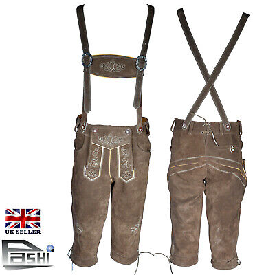 "Mens Lederhosen Real Leather Suede Bavarian [UK Size 32"" EU 48] Oktoberfest"