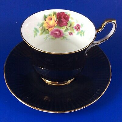 Queen's Rosina Roses Black Fine Bone China Footed Tea Cup And Saucer