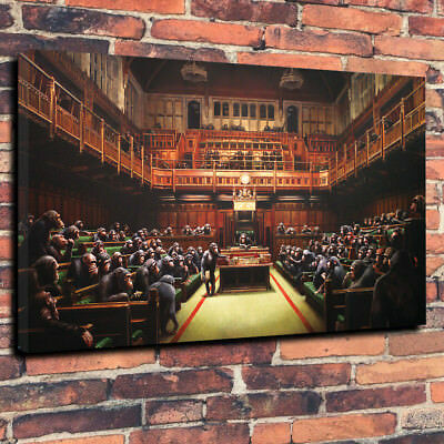 """Banksy Monkey Parliament Printed Canvas Picture A1.30""""x20"""" 30mm Deep Home Decor"""