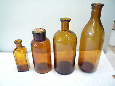 Antique Lot of 4 Amber Chemist Pharmacy Apothecary Medicine Bottles - NICE COND.